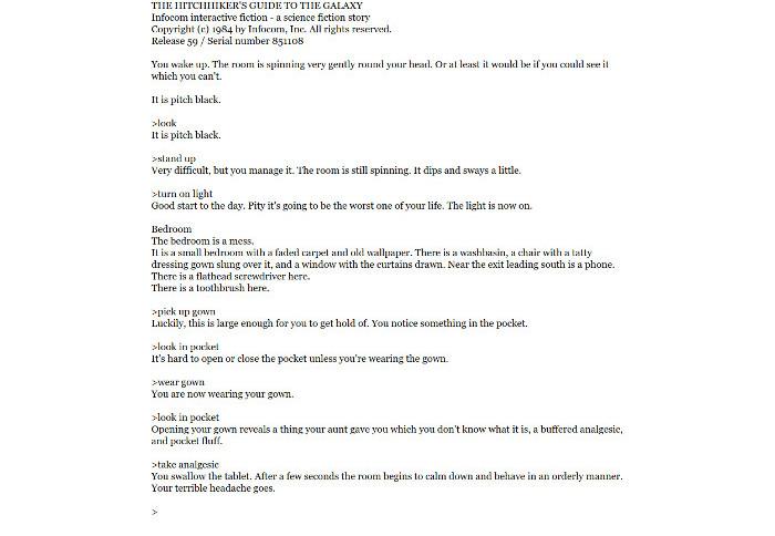 Jakob writes - Chat Fiction - HHGTTG Screenshot