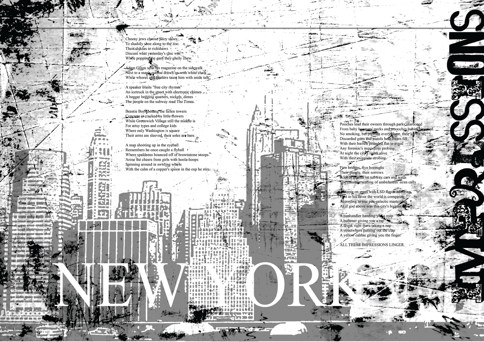 NYC impressions. A poem by Jakob Straub, illustrated by Joel D. Poischen